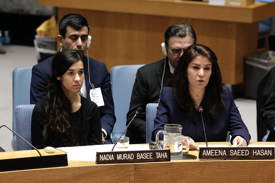 Ms Ameena Saeed Hasan (right) militant in favour of the Yezidi women and Ms Nadia Murad Basee Taha (left), Goodwill Ambassador for the Dignity of Survivors of Human Trafficking - JPEG